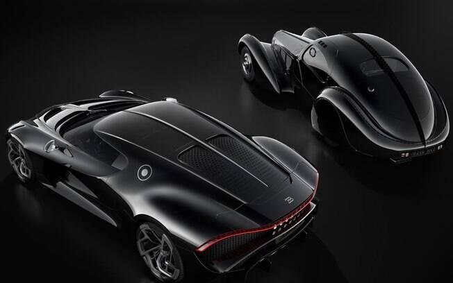 A traseira é onde mais os dois Bugatti se parecem e a marca soube explorar bem isso nas fotos promocionais.