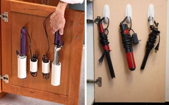 Colocar ganchos ou canos dentro do armário pode ser uma boa opção para guardar os aparelhos e deixar os fios em ordem