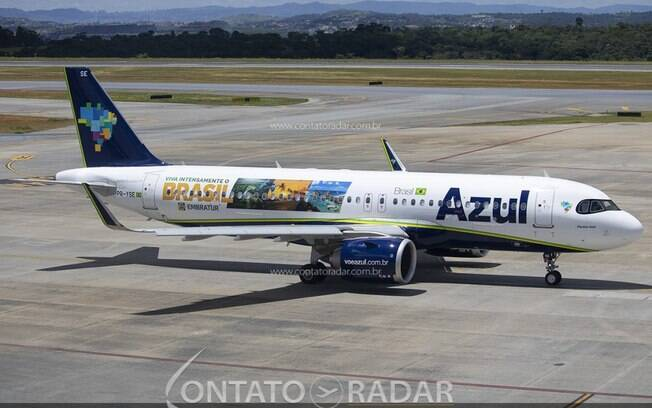 Para promover o turismo no Brasil, Azul adesiva Airbus A320neo