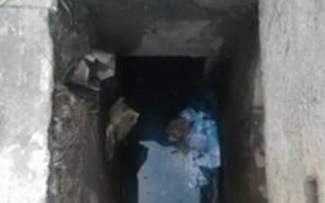 Bueiro onde recém-nascida foi encontrada