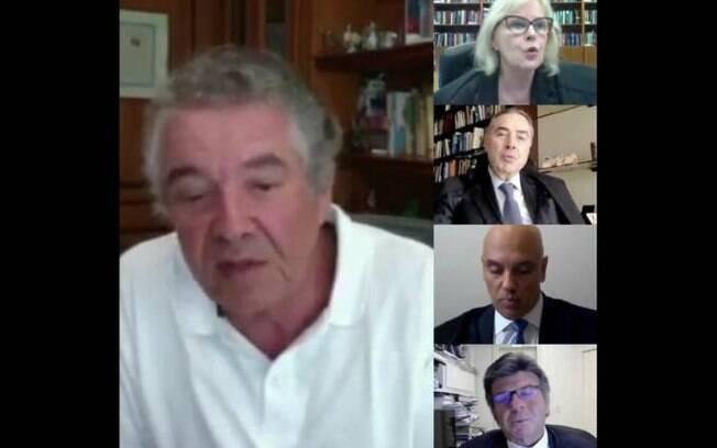 Ministros do STF em sessão virtual da primeira Turma; Marco Aurélio aparece de camisa polo