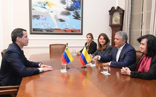 Juan Guaidó foi recebido pelo presidente colombiano Iván Duque