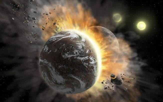 Concepção artística do choque de planetas no sistema BD +20 307, que gera detritos e poeira