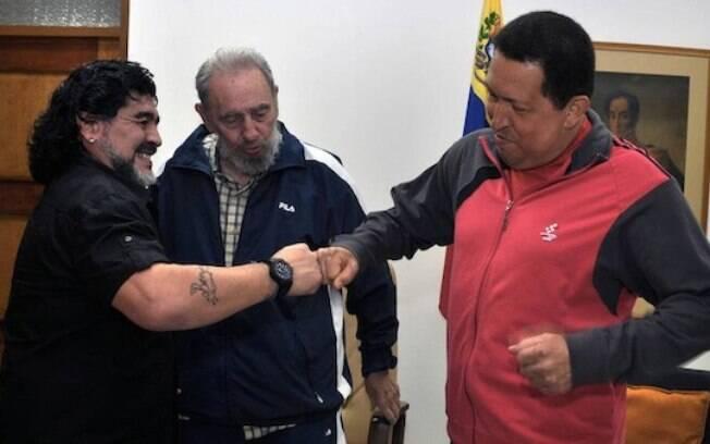 Maradona é amigo pessoal da família Castro, em Cuba, e defende as ideias do governo venezuelano. Foto: Reprodução