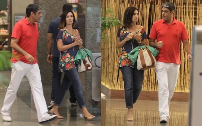 Coloridos, Fátima Bernardes e William Bonner foram as compras e jantar em shopping do Rio