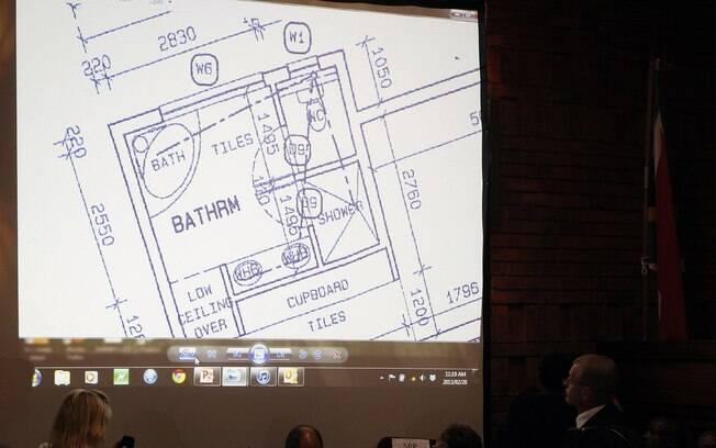 Na quarta-feira, dia 20 de fevereiro,  promotoria mostrou desenho de planta do banheiro  onde Reeva Steenkamp foi morta na semana passada
