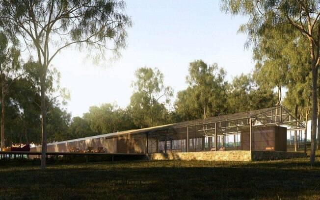 A casa térrea de 600 m², projetada por Marcio Kogan, conta com estrutura metálica pré-montada, paredes de gesso e forro de madeira