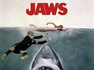 Tim Howard também apareceu no cartaz do filme Tubarão