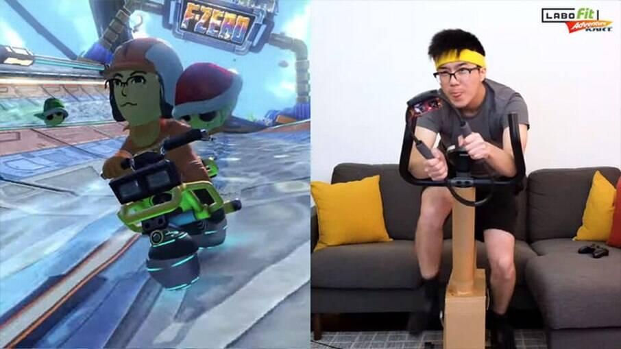 Mike Choi controlou o jogo Mario Kart com uma bicicleta ergométrica