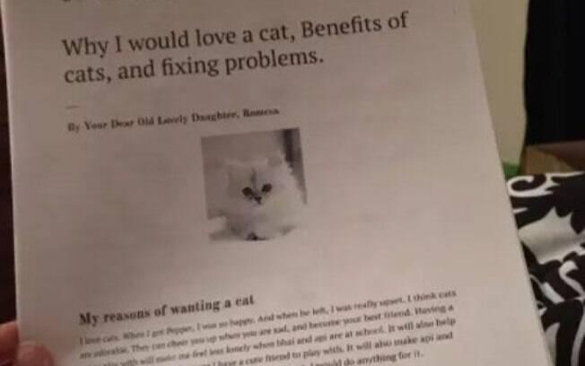 Menina quer um gato e escreve um relatório para convencer os pais