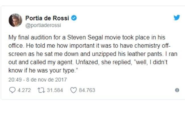 Portia de Rossi sobre o assédio sexual que sofreu do ator Steven Seagal
