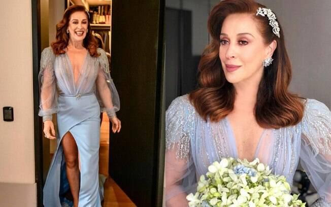 Claudia Raia também optou por um vestido de noiva colorido para oficializar a relação com Jarbas Homem de Mello