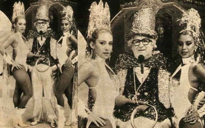 Rita Cadillac (à esq.) ao lado de Chacrinha e outra chacrete