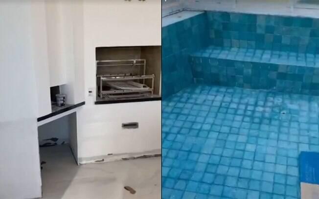 Churrasqueira e piscina da cobertura em obras