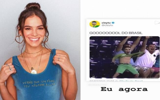 Bruna Marquezine está empolgada com a Copa do Mundo