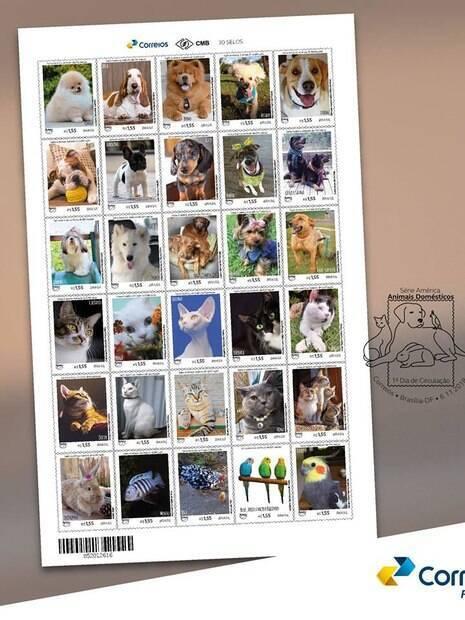A nova coleção de selos dos Correios trazem os animais de estimação de seus funcionários como tema