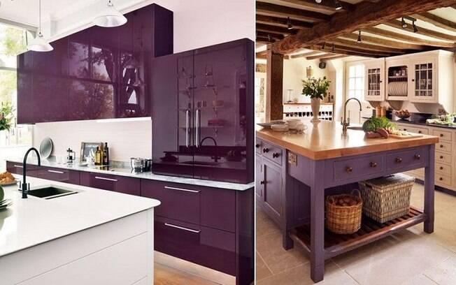 O 'Ultra Violet' também pode aparecer na cozinha, sempre com o cuidado de não utilizá-lo no ambiente inteiro