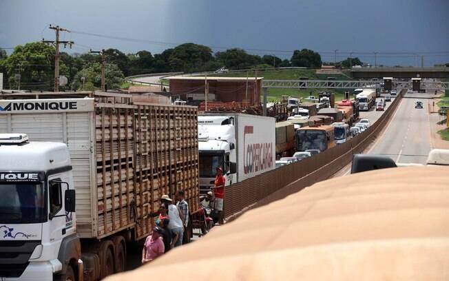 Caminhoneiros bloqueiam totalmente trechos de rodovia na cidade de Rondonópolis (MT)