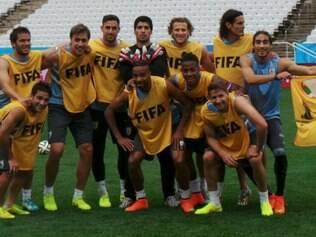 Equipe treinou no estádio Itaquerão, palco do duelo com os ingleses, na próxima quinta-feira