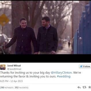 Pelo twitter, Jared e Nate convidam Hillary Clinton para seu casamento