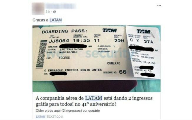 Falsa promoção publicada no Facebook exige que vítimas compartilhem link com seus contatos na rede social