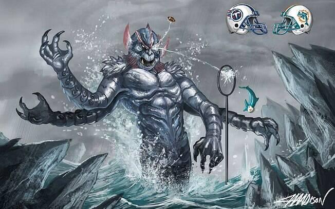 Ilustração de Madison para a partida entre Titans (titãs) e Dolphins (golfinhos)