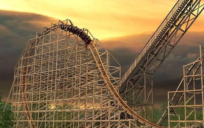 O Six Flags Great America também é a casa da montanha-russa de madeira que homenageia Golias e chega a 115,8 km/h