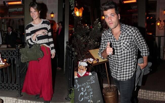 Bruno Gagliasso e Giovanna Ewbank deixando o restaurante em São Paulo