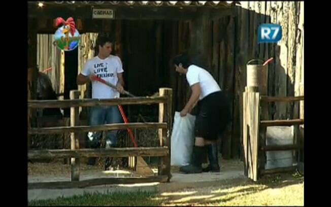 João Kléber auxilia Thiago Gagliasso na limpeza das cabras