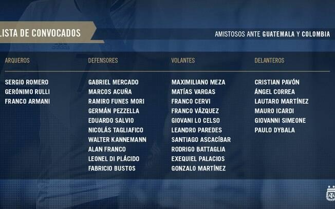 Os convocados da seleção argentina para os amistosos contra Guatemala e Colômbia