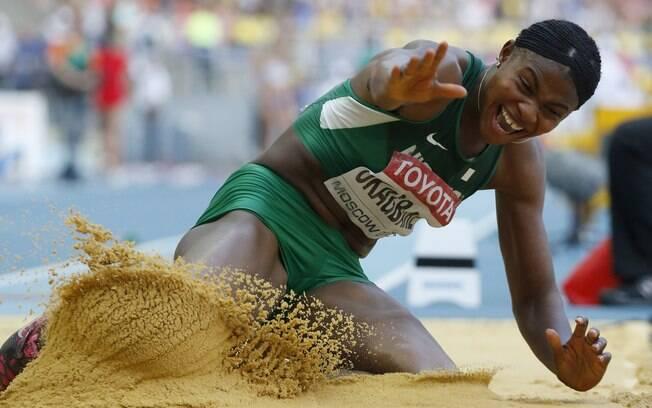 Blessing Okagbare, da Nigéria, ficou com a  prata no salto em distância