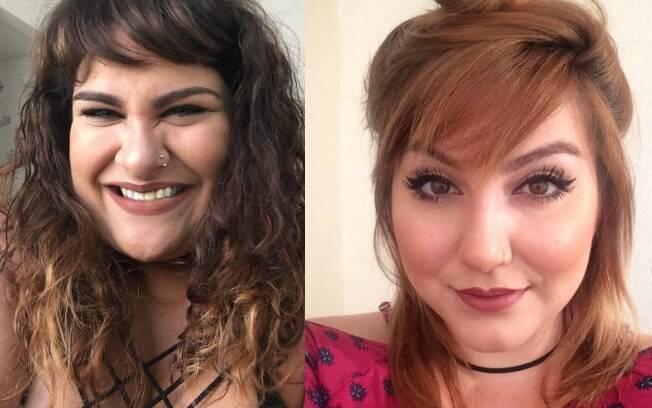 Youtubers Alexandra Gurgel e Ju Romano mostram que não é preciso ter um rosto fino para conseguir manter uma franja