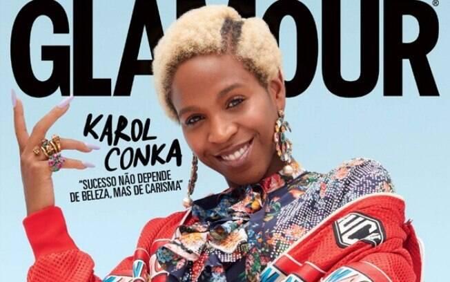 Tombou! A rapper curitibana Karol Conka brilha na capa da revista Glamour