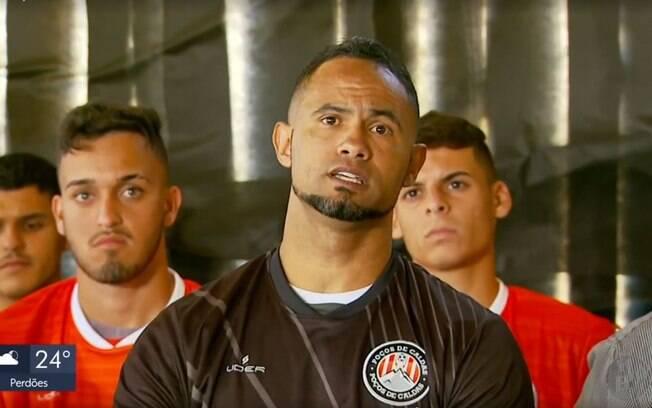 Goleiro Bruno durante entrevista coletiva no Poços de Caldas