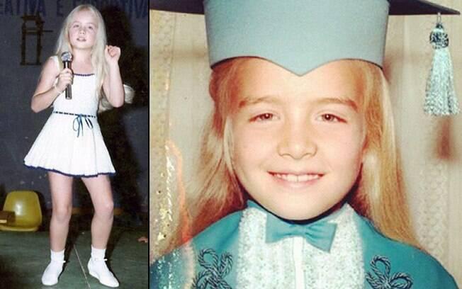 Angélica cantando, aos 4 anos, e em sua primeira formatura, aos 6