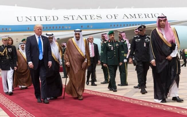 Presidente dos Estados Unidos, Donald Trump, em visita a Arábia Saudita, no mês passado