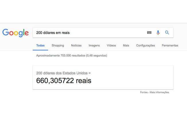 É possível usar o Google como conversor de moedas.