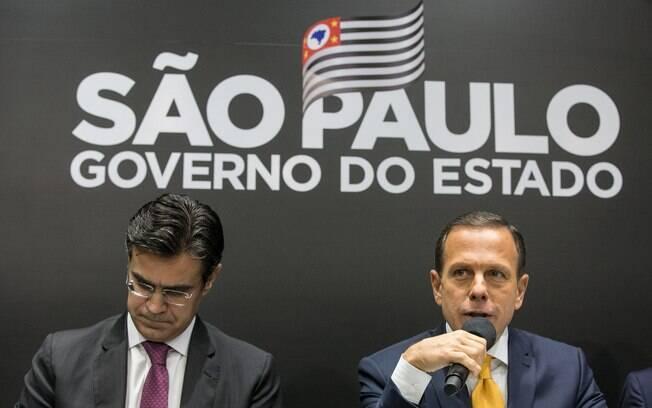 João Doria e o vice-governador Rodrigo Garcia; o vice-governador testou positivo para Covid-19 nesta quarta-feira