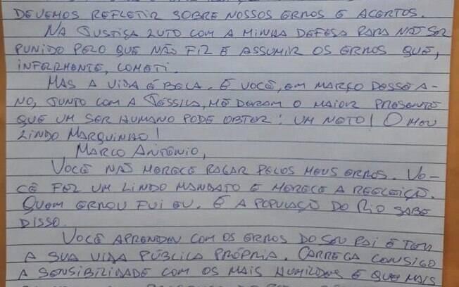 Filho de Cabral divulga carta do pai:
