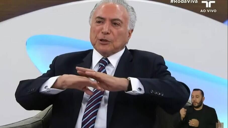 Ex-presidente Michel Temer no Roda Viva