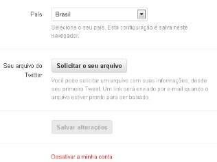 Página de configurações do Twitter em português ganhou opção