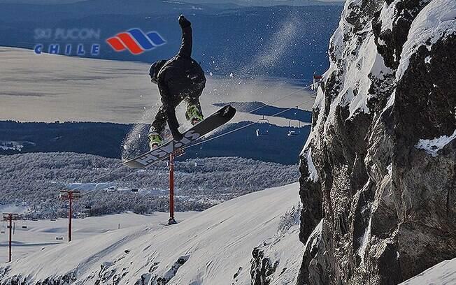 Pucón é conhecido pelas pistas para snowboard