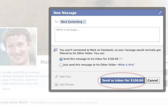 Repórter do site Mashable descobriu exigência de pagamento de US$ 100 para entregar mensagem a Zuckerberg