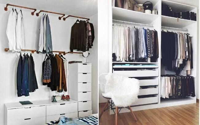 Também é possível instalar prateleiras e cabideiros nas paredes ou simplesmente remover as portas do armário