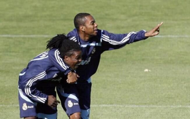 Robinho e Drenthe durante treinamento do Real Madrid