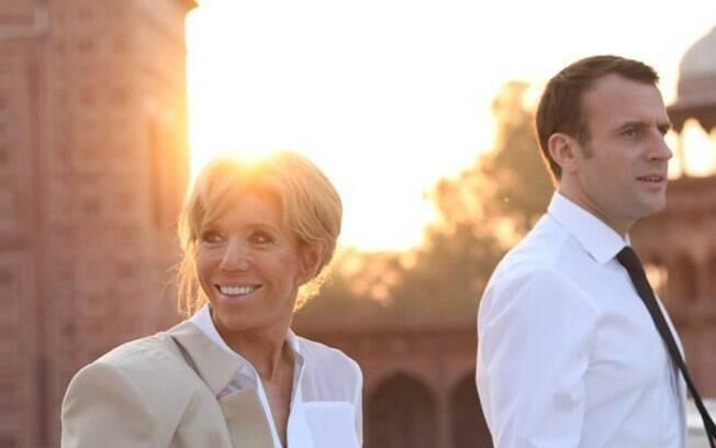 Emmanuel Macron e sua esposa, Brigitte Macron, na Índia