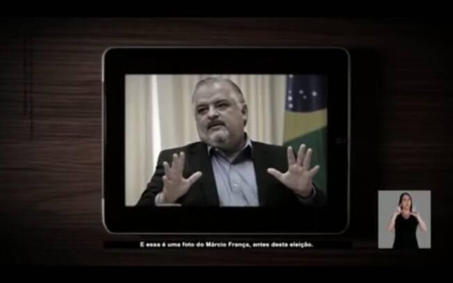 Propaganda do candidato João Doria (PSDB) expõe foto de Márcio França (PSB) antes de cirurgia bariátrica