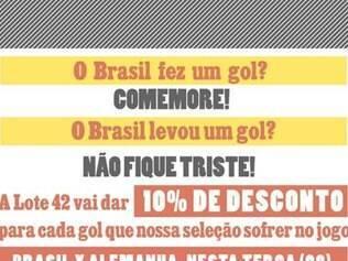 Editora lançou promoção oferecendo 10% de desconto a cada gol que o Brasil sofresse