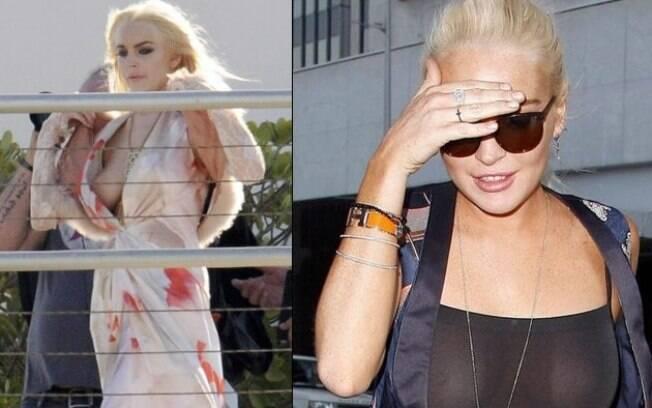 A atriz Lindsay Lohan é alvo constante dos paparazzi e, por isso, também já mostrou demais. Em um set de filmagem, seu roupão abriu e... Na outra foto, um pretinho básico