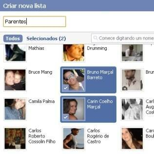 Lista de amigos no Facebook